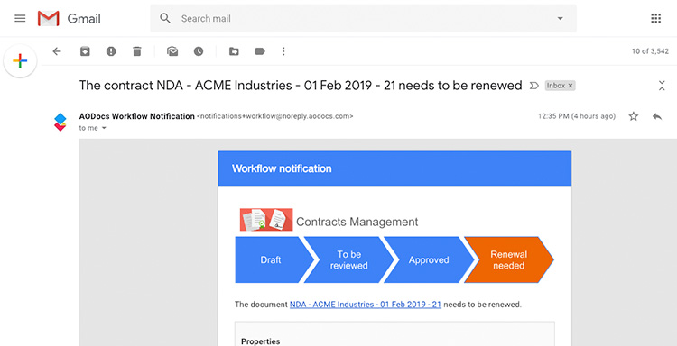 Contracts Management Notification